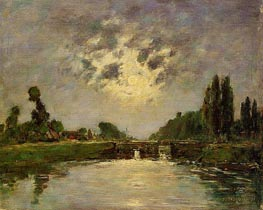 Saint-Valery-sur-Somme, the Bridge on the Lock | Eugene Boudin | Painting Reproduction