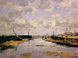 Trouville, the Jettys, Low Tide, 1890 by Eugene Boudin | Painting Reproduction
