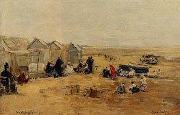 Deauville: Beach Scene, 1890 by Eugene Boudin | Painting Reproduction