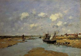 Etaples, La Canache, Maree Basse, 1890 by Eugene Boudin | Painting Reproduction