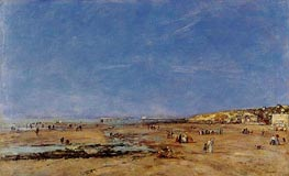 Trouville, Panorama of the Beach, 1890 by Eugene Boudin | Painting Reproduction