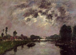 Saint-valery-sur-Somme, the Canal d'Abbeville, 1890 by Eugene Boudin | Painting Reproduction