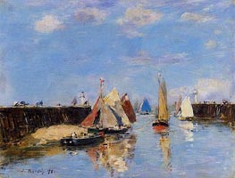 The Port of Trouville, 1886 von Eugene Boudin | Gemälde-Reproduktion