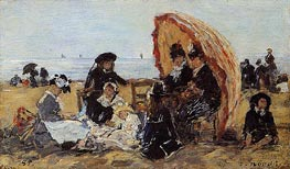Trouville, on the Beach Sheltered by a Parasol | Eugene Boudin | Gemälde Reproduktion