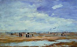 Deauville, the Beach, Low Tide, c.1885/90 von Eugene Boudin | Gemälde-Reproduktion