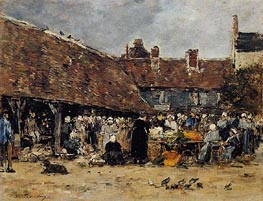 Market at Trouville | Eugene Boudin | Painting Reproduction