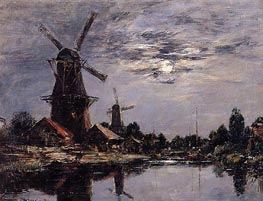 Windmills and Canal near Dordrecht | Eugene Boudin | Gemälde Reproduktion