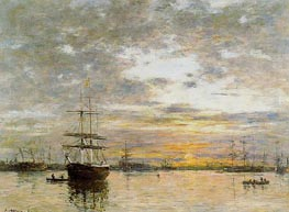 The Port of Le Havre at Sunset | Eugene Boudin | Gemälde Reproduktion