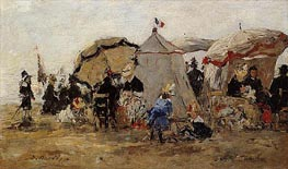 Women and Children on the Beach at Trouville, 1880 von Eugene Boudin | Gemälde-Reproduktion