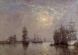 Le Havre; European Basin, Sailing Ships at Anchor, 1870 von Eugene Boudin | Gemälde-Reproduktion