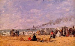 The Beach at Trouville, 1868 von Eugene Boudin | Gemälde-Reproduktion