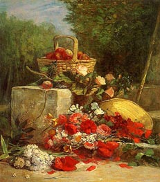 Flowers and Fruit in a Garden, 1869 von Eugene Boudin | Gemälde-Reproduktion