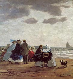 On the Beach, Dieppe, 1864 von Eugene Boudin | Gemälde-Reproduktion