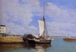 Honfleur, the Port, Docked Sailboat | Eugene Boudin | Painting Reproduction