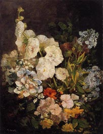 Spray of Flowers - Holyhocks, 1858 von Eugene Boudin | Gemälde-Reproduktion