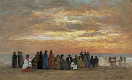 Figures on the Beach in Trouville, 1869 von Eugene Boudin | Gemälde-Reproduktion