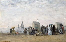 The Beach at Trouville, 1867 von Eugene Boudin | Gemälde-Reproduktion