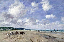 The Beach at Tourgeville, 1893 von Eugene Boudin | Gemälde-Reproduktion