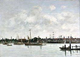 The Meuse at Dordrecht, 1874 by Eugene Boudin | Painting Reproduction