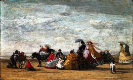 Beach Scene, 1867 by Eugene Boudin | Painting Reproduction