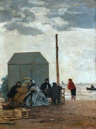 The Beach at Deauville, 1864 by Eugene Boudin | Painting Reproduction