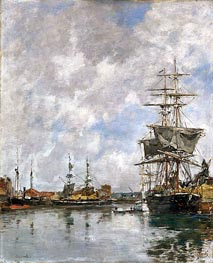 Deauville Harbor, 1891 by Eugene Boudin | Painting Reproduction