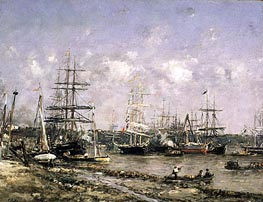 Bordeaux, the Port, undated von Eugene Boudin | Gemälde-Reproduktion