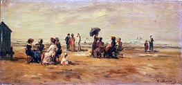 The Beach at Trouville, 1879 von Eugene Boudin | Gemälde-Reproduktion
