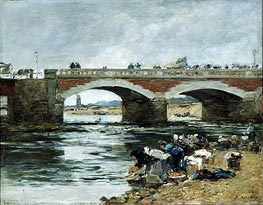 Washerwomen near a Bridge | Eugene Boudin | Gemälde Reproduktion