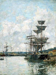 Ships at Le Havre, 1887 by Eugene Boudin | Painting Reproduction