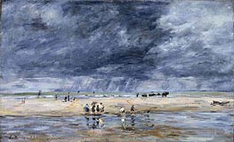 Figures on the Beach, 1893 von Eugene Boudin | Gemälde-Reproduktion