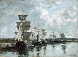 Harbor Scene, undated by Eugene Boudin | Painting Reproduction