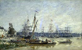 Harbor at Bordeaux, 1874 von Eugene Boudin | Gemälde-Reproduktion