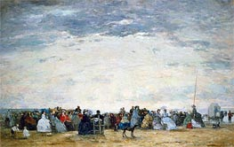 Vacationers on the Beach at Trouville, 1864 von Eugene Boudin | Gemälde-Reproduktion