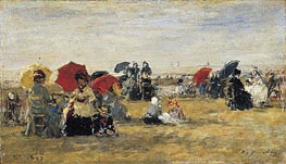 Beach Scene at Trouville, 1880 von Eugene Boudin | Gemälde-Reproduktion