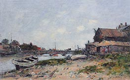 The Bridge over the River Touques at Deauville, 1894 von Eugene Boudin | Gemälde-Reproduktion