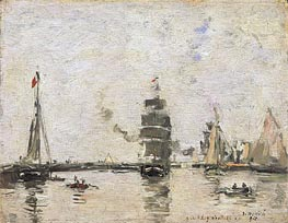 Boats in Trouville Harbor, 1894 von Eugene Boudin | Gemälde-Reproduktion