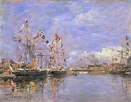 Deauville, Flag-Decked Ships in the Inner Harbor, 1896 von Eugene Boudin | Gemälde-Reproduktion