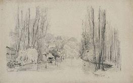 River Landscape with Houses and Bridge, late 1850s von Eugene Boudin | Gemälde-Reproduktion