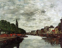 A Canal near Brussels, 1891 by Eugene Boudin | Painting Reproduction