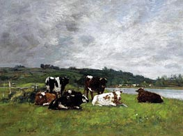 Cows in the Pasture, c.1880/85 von Eugene Boudin | Gemälde-Reproduktion