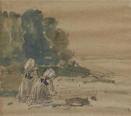 Les Laveuses, Undated by Eugene Boudin | Painting Reproduction