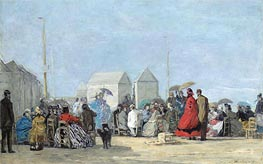 Beach Scene at Trouville, 1864 von Eugene Boudin | Gemälde-Reproduktion