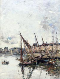 The Harbour of Trouville, Low Tide, 1894 von Eugene Boudin | Gemälde-Reproduktion