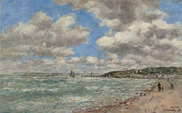 The Shore of Deauville, 1896 von Eugene Boudin | Gemälde-Reproduktion
