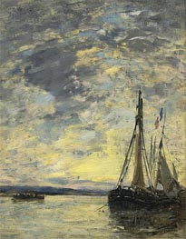 Sailing Boats at Quay, c.1885/90 by Eugene Boudin | Painting Reproduction