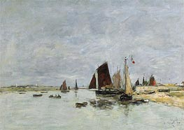 Etaples, Boats in the Harbour, 1876 by Eugene Boudin | Painting Reproduction