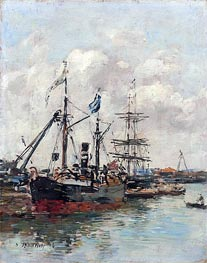 Trouville, the Harbour, 1894 by Eugene Boudin | Painting Reproduction