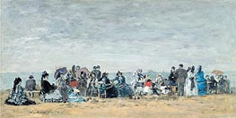 The Beach at Trouville, 1872 von Eugene Boudin | Gemälde-Reproduktion