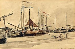 Fishing Boats on the Beach at Scheveningen, 1876 von Eugene Boudin | Gemälde-Reproduktion